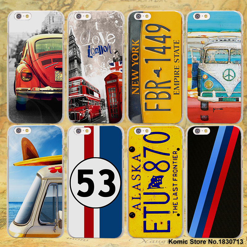 new fashion License Plate LONDON BUS summer car hard transparent clear Cover Case for Apple iPhone 7 6 6s Plus SE 4s 5 5s 5c(China (Mainland))