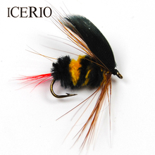 ICERIO 6PCS Yellow and Black Bumble Bee Fly Insect Imitation Artificial Fishing Bait Dry Fly for Trout Fishing #10