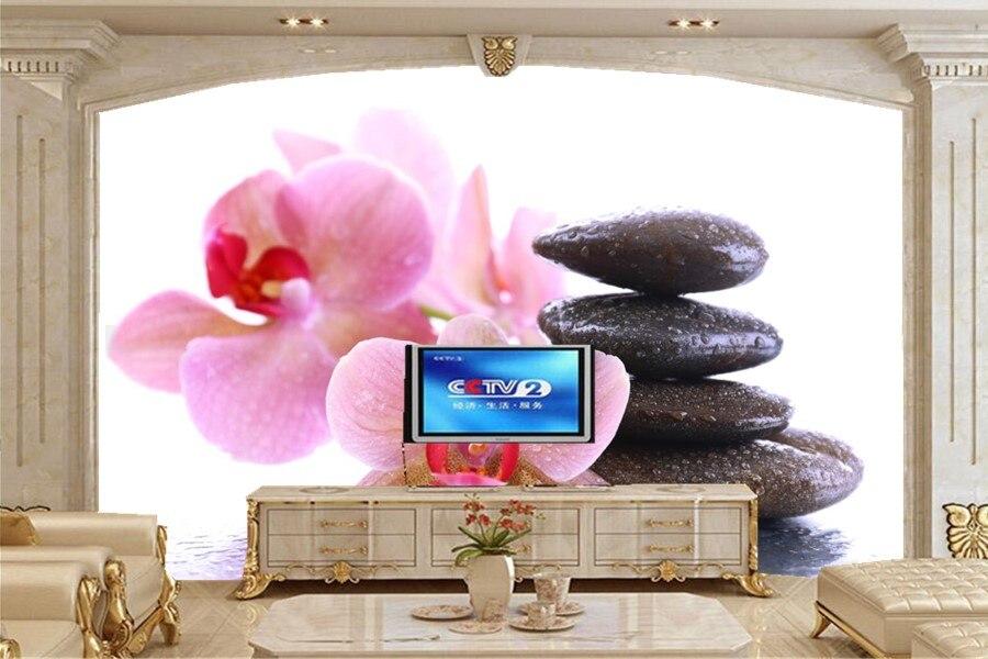 Custom stones Orchid Closeup Flowers  photo 3d wallpaper,livng room tv sofa wall bedroom wallpaper 3d mural papel de parede <br>
