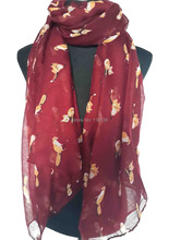 Dark Red Fox Animal Print Animal Scarf Shawl Wrap Women's Accessories, Free Shipping