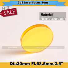 USA ZnSe Dia 20mm  Length 63.5mm  High Quality  Laser Lens Co2 Laser Focus Lens   Free Shipping