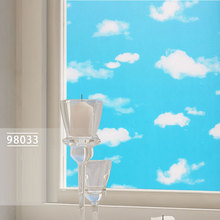 50M*0.45M Color printing Blue sky and white clouds window film Stickers affixed to glass stained glass Fast transport