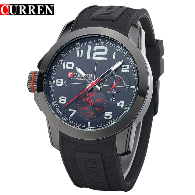 CURREN 8182A Men Sport Military Quartz Watches WoMens Large Round Dial Analog WristWatch with Silicone Band Relogio Masculino<br><br>Aliexpress