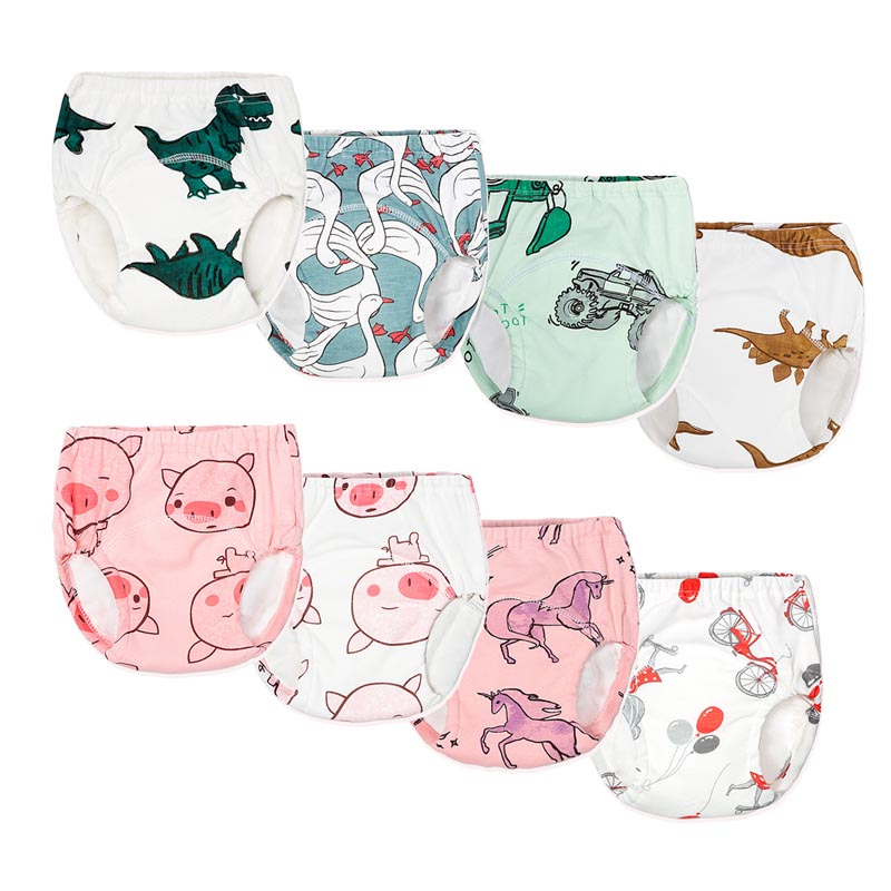 4pcs/lot Baby Diapers Reusable Nappies Cloth Diaper Washable Infants Children Baby Cotton Training Pants Nappy Changing Panties