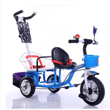 12 inch 2 kids tricycle twins baby bicycle double seat tricycle tandem trike with fold pedal and remove arm rest(China)