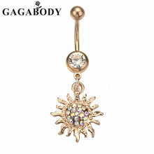 Fashion Navel Rings Stainless Steel Light Yellow Gold Color Sun Dangle Navel Belly Ring Bar Barbell Body Piercing Jewelry