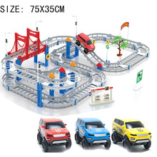 assembly train track rail car two layer  electric track set  DIY  intelligence toy  brinquedo  jugetes Vehicle
