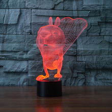 Cute Animal Squirrel LED Table Lamps USB Led Night Lamp 7 Color Changing Touch Led Night Light