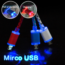 0.3M/1M Nylon Braided Fabric V8 Micro USB Charger Smart LED Light Sync Data Cable Charging Cord Adapter For Android Phones