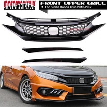 Car Styling R Gloss Black Front Hood Honeycomb Mesh Racing Grills For Honda Civic 10TH 2016 2017 With OEM Eyebrow Sticker