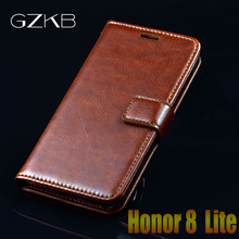 For Huawei Honor 8 Lite Case GZKB Luxury Leather Flip Case For Huawei Honor 8 Lite Business Cover Wallet Phone Bags Case 5.2''(China)