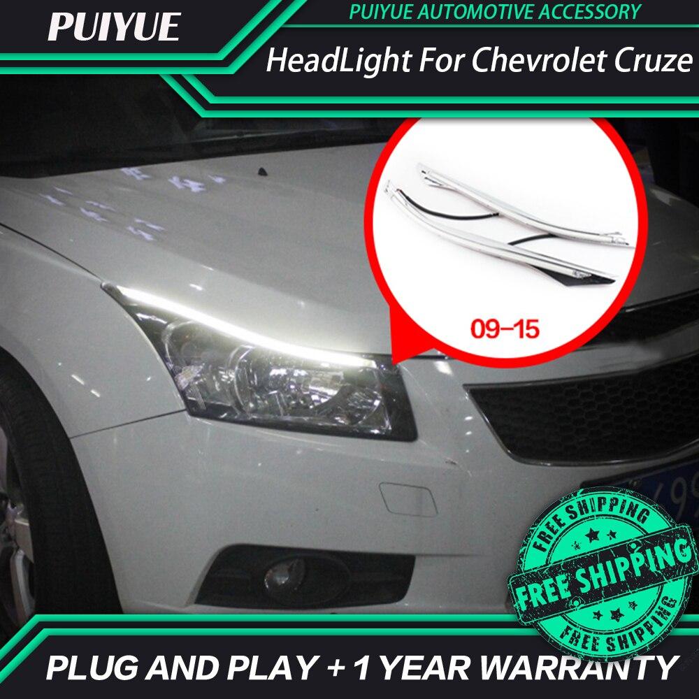 PUIYUE Car styling Freeshipping 9600Lm For 2009-2015 Chevrolet Cruze Car Headlight  Angel Eyes LED Eyebrow Daytime Running Light<br><br>Aliexpress