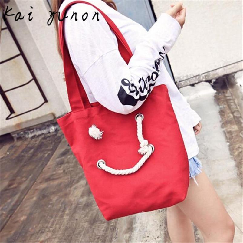 kai yunon Women Fashion Canvas Smile Face Bags Shoulder Bag Casual Handbag Sep 6<br><br>Aliexpress