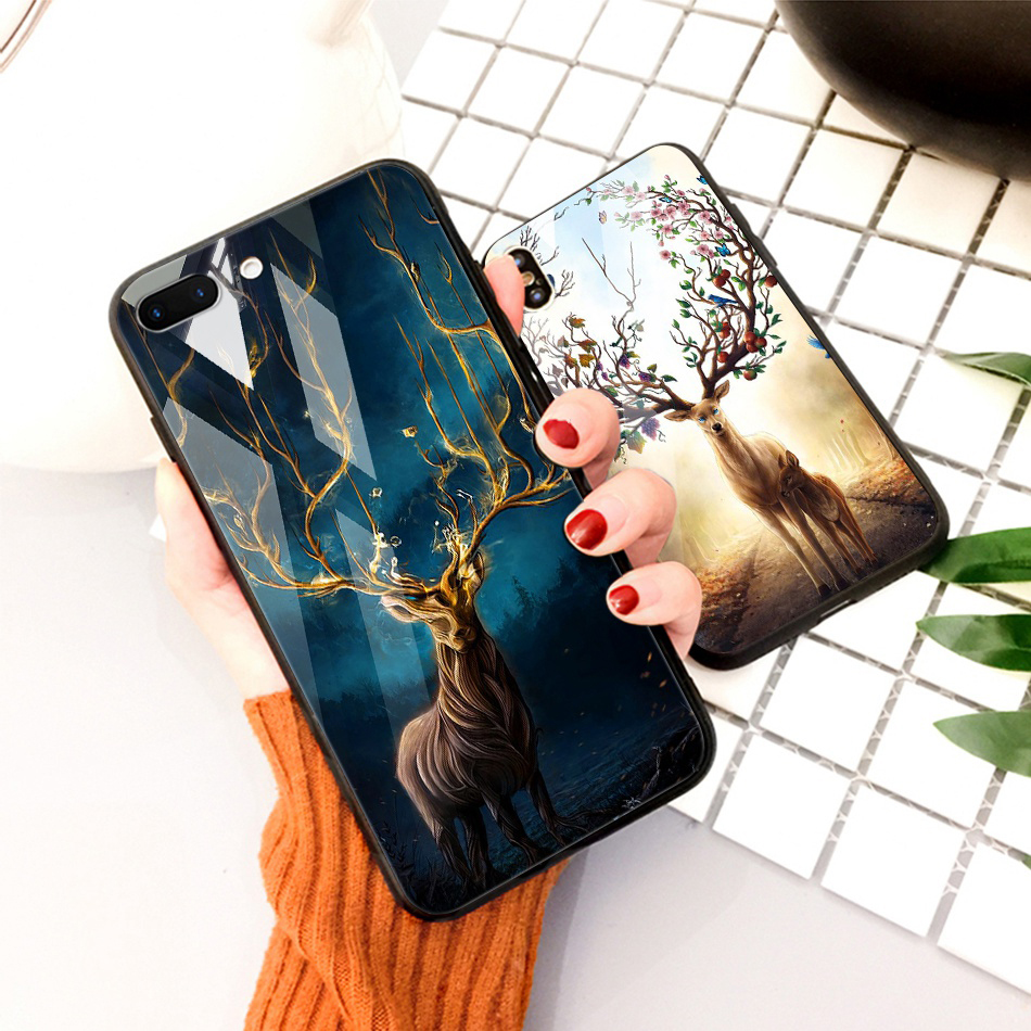 TOMKAS Animal Glass Case For iPhone X 8 7 10 6 Cover Phone Cases For iPhone X 7 8 6 6s Plus Case Luxury Cute TPU PC Covers Coque (18)