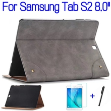 "Ultra-thin Smart PU Leather Cover Funda Case Samsung Galaxy Tab S2 T710 T713 T715 T719 8.0"" Tablet+Screen Protector+Pen"