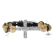 FREE SHIPPING 1pcs Rhinestone Crystal Hip Hop Cross Beads Shamballa Bracelet #22683-#22686(China)