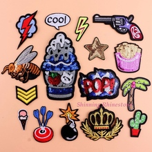 Clothes Embroidery Patches Sewing Sequins Patch Motif Crown Iron On Lighting Appliques Brand Patch DIY Garment Star Pop Bee Tree
