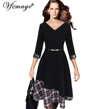 Vfemage Womens Asymmetric Hem V-neck Vintage Polka Dot Contrast 3/4 Sleeves Work Casual Party Fit and Flare A-line Dress 10101(China)