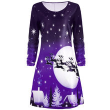 Female 2018 Casual Christmas Floral Dress Christmas Party Clothes Women  Long Sleeve Twinkle Ladies Dresses Midi 6c4f506f7e2e