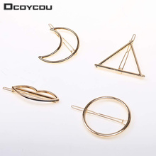 4PCS Hairpins Triangle Moon Hair Pin Jewelry Lip Round Hair Clip For Women Barrettes Hair Accessories