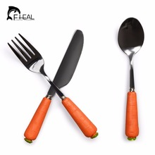 FHEAL 3 pcs Kids Dinnerware Sets Stainless Steel Cutlery Set Cute Carton Carrot Fork Spoon Kitchen Food Tableware Dinner Set(China)