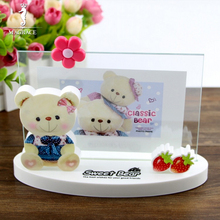 Cute Cartoon Bear Kid Photo Frame Glass Crystal Photo Frame 7 Inches Cross Display Home Decor Picture Frames Gifts for Children(China)