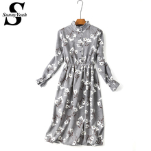 Vestido de festa Preppy Style Corduroy Autumn Winter Dress Women Casual 2017 Long Sleeve Ladies Vintage Print Party Dresses Midi(China)