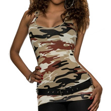 Sexy Women Sexy Low-lying Camouflage Party Vest Top Clubbing Ladies Army Woman tanks top Clothes Multi-color(China)