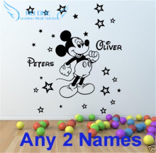 cartoon Mickey Mouse Personalized Kid's Name Wall Sticker Child Name Nursery Sticker Wall Stickers For Kid's Rooms DIY