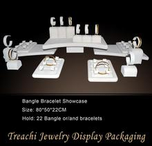 Fashion advanced super deal  jewelry setting display beige velvet bangle bracelet holder 22 pecs showcase free shipping
