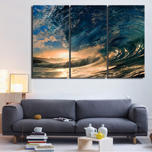 HD Printed Abstract Pictures Frame Canvas Wall Art Poster 3 Pieces Tropical Paradise Blue Ocean Wave Painting Home Decor PENGDA