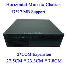 mini itx type horizontal Mini-ITX motherboard small living room mini HTPC chassis horizontal chassis vehicle chassis(China)