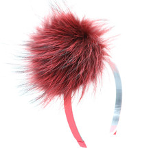 2017 fashion real fur recoon fur fox fur pomp with snap headband with button changeble girls winter popular accessories 12cm pom