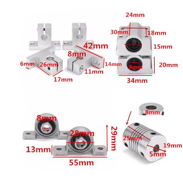 Machifit 13pcs 400mm CNC Parts Optical Axis Guide Bearing Housings Aluminum Rail Shaft Support Screws Set