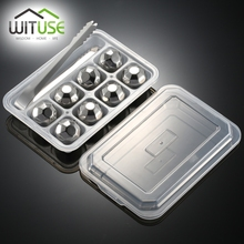 WITUSE 4/6/8 PCS Stainless Steel 304 Whisky Stones Ice Cubes in Package, Whiskey Cooler Rocks,Ice stone islande With Plastic Box