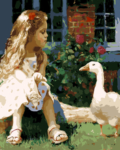 Frameless Picture Home Decorative Painting Canvas Painting Hand-Painted Oil Painting Painting By Numbers - girl and goose