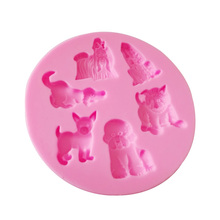 M294 Silicone Cake Decorating Mold Multi Dog Lion Breed Animal Silicone Mould For Fondant Chocolate Resin Clay Cake Tools