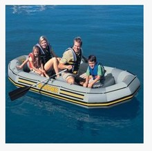 INTEX68376 Wear-resistant laminated ship thick plywood  4 person fishing inflatable boat rubber boat with 3.5P motor engine