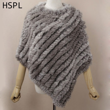 HSPL Fur Poncho 2017 Autumn Real Rabbit Hot Sale Triangle Knitted Women Pullover Lady Pashmina Wrap poncho pele de coelho