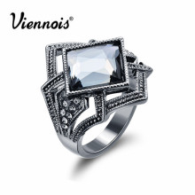 Newest Viennois Fashion Jewelry Gun Color Geometric Finger Rings for Woman Rhinestone and Crystal Party Accessories