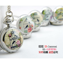 50pcs wholesale buyer price good quality silver fashion new enamel bird cage birdcage pocket watch necklace hour clock