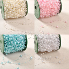 5 Meters Fishing Line Artificial Pearls Beads Chain Garland Flowers Wedding Party Decoration Supply Beige/White/Pink/Turquoise