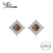 JewelryPalace Succinct 1.2ct Square-Cut Genuine Smoky Quartz Studs Earrings 926 Sterling Silver Butterfly Fashion Women Jewelry(China)