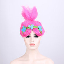 15PCS/LOT Trolls Poppy Wig Hat For Kids Wig with Headband Children Cosplay Party Supplies Wigs(China)
