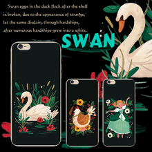 swan illustration paint online art cell cover for X iphone 6 6s 7 8 plus cell case 5 5s X bird kip print art supplies silicon(China)