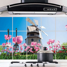 High Quality Aluminum Foil Wall Sticker Waterproof and Oil Fume Paste Kitchen Smoke Holland Windmill Tulip Restaurant Picture(China)