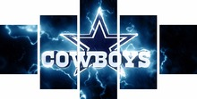 5 Pieces Dallas Cowboys Logo Sports Team Deco Fans Posters Oil Painting On Canvas Modern Home Pictures Prints Decor Living Room