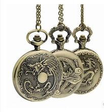 Mix with more style Retro Chinese Zodiac Bronze Dragon Pocket Watch with Pendant Necklace chain Quartz movement mens watches