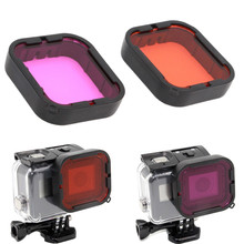 2-pack (Red Magenta) for GoPro Hero5 Super Suit Housing Aqua Filter under water UV Filter for Gopro Accessories(China)