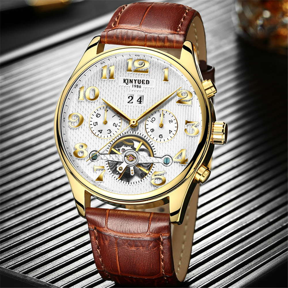 2017 Kinyued Skeleton Tourbillon Mechanical Watch Automatic Men Classic Rose Gold Leather Mechanical Wrist Watches Reloj Hombre <br>
